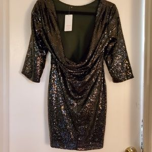 Scoopback sequin cocktail dress